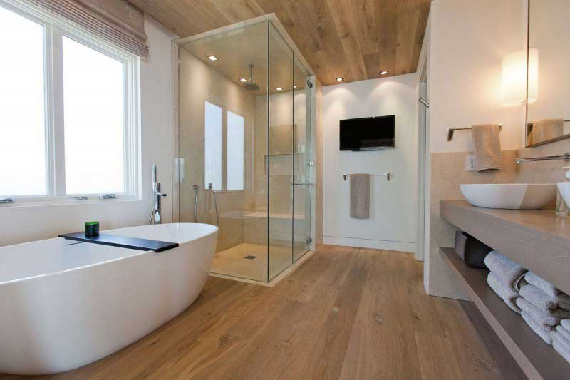 redesign a small bathroom in 2020 - Wooden floor