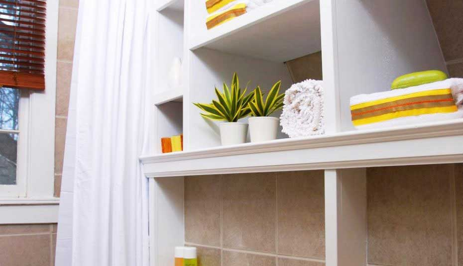 redesign a small bathroom 2020 - Shelving